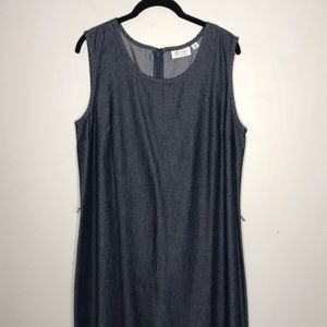 D & Co Plus Dark Wash Denim Maxi Dress Side Slits